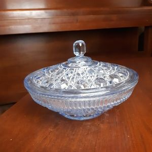 Vintage cut glass snow blue bowl with lid